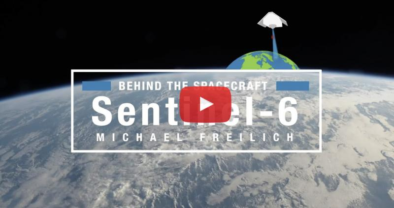 Sentinel 6 Michael Freilich spacecraft in orbit above the earth
