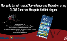 "Screenshot of title slide displaying GLOBE Observer mobile app, mosquito, and title of tutorial: ""Mosquito Larval Habitat Surveillance and Mitigation using GLOBE Observer Mosquito Habitat Mapper""."