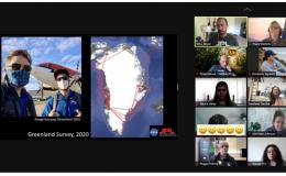 Webinar with 10 participants on the right side of the screen. On the left is a JPL Greenland Survey 2020 slide with 2 men in front of a small plane. Also on the slide is a map of a white body of land surrounded by water with red lines around the land borders.