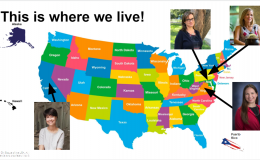 Slide showing where the panelists for session 1 and the moderator live on a colorful map of the U.S.