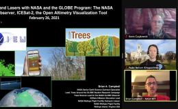 Kevin Czajkowski (University of Toledo), Peder Nelson (Oregon State University), and Brian Campbell (NASA Goddard Space Flight Center) presenting about Tree Height and Lasers with NASA and GLOBE Program.