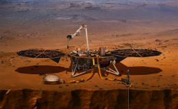 An artist's impression of the InSight lander on Mars