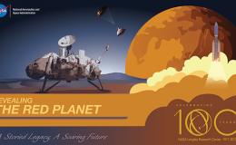Illustration of spacecraft on Mars surface