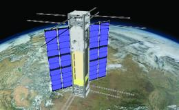Illustration of satellite orbiting earth