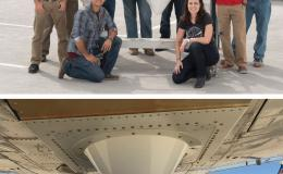 Photo of DopplerScatt team at JPL and Photo of DopplerScatt aboard an aircraft
