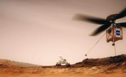Artist's concept of the Mars Helicopter with the Mars 2020 rover in the background