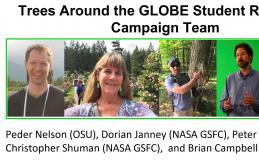 Photos of the Trees Around the GLOBE Student Research Campaign Team. From left to right: Peder Nelson (OSU), Dorian Janney (NASA GSFC), Peter Falcon (NASA JPL), Christopher Shuman (NASA GSFC), and Brian Campbell (Lead, NASA WFF).