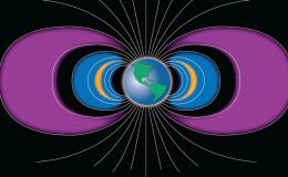 Illustration of Van Allen Radiation Belts surrounding earth