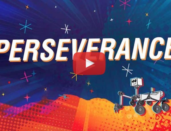 Cartoon Illustration of Mars Rover Perseverance
