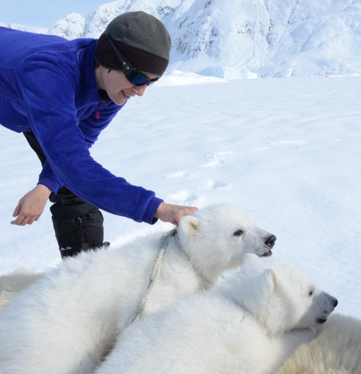 Photo of woman with polar bears