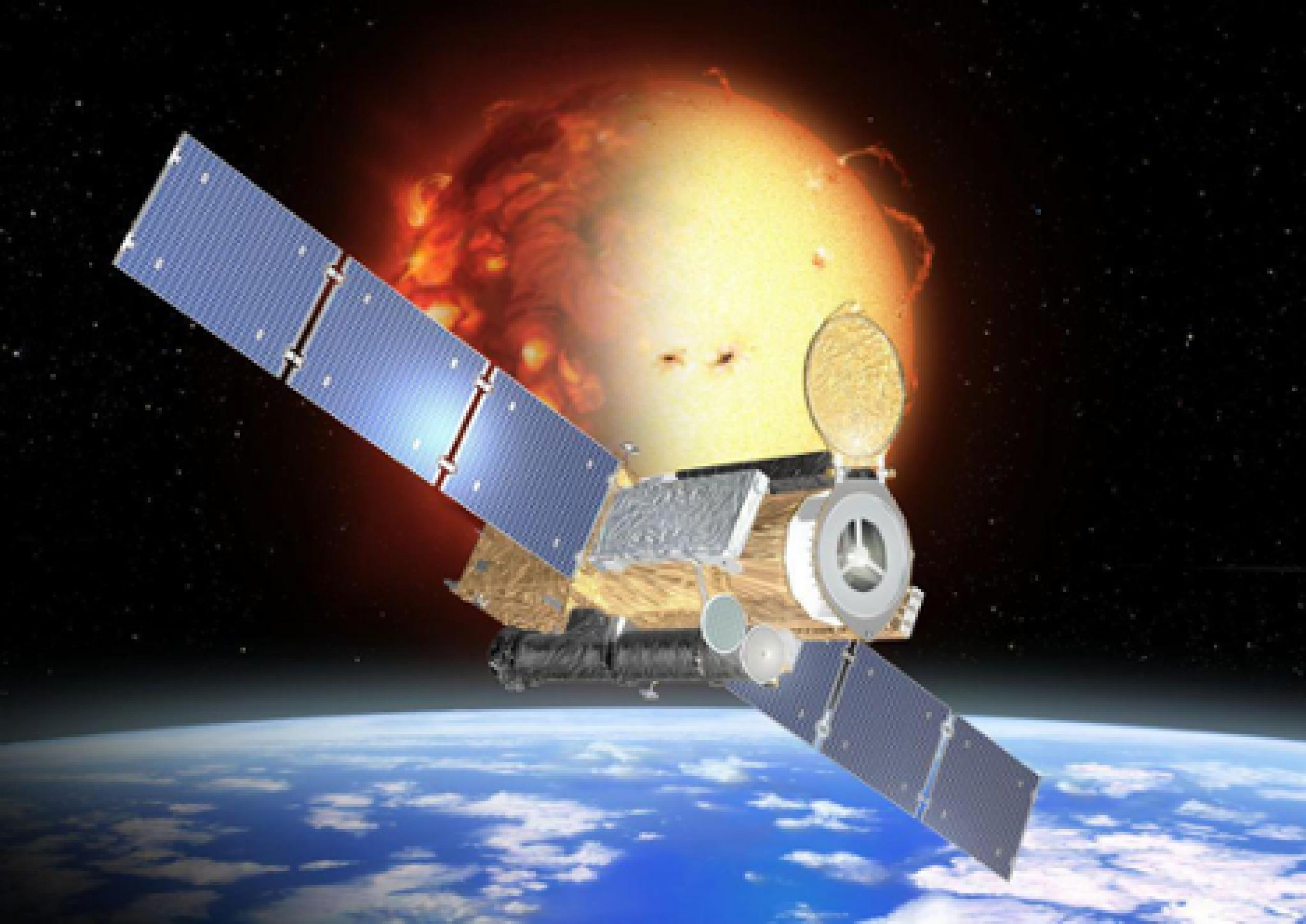 Artist concept of satellite in orbit above the Earth with the Sun in the background