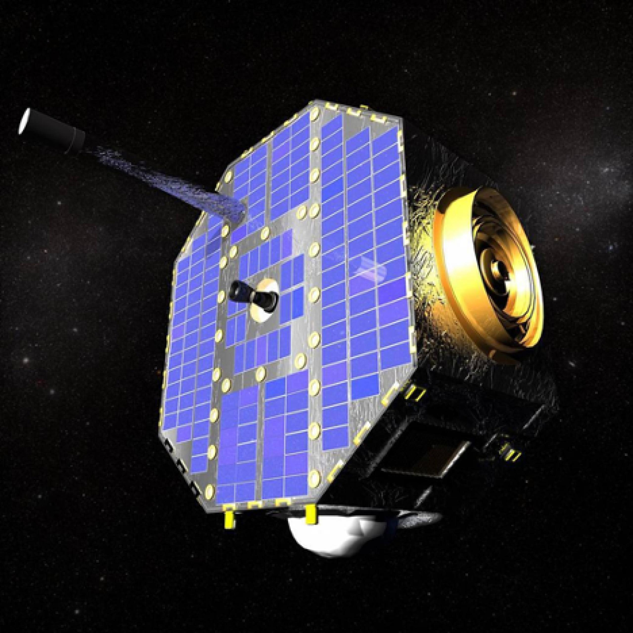 Artist concept of satellite with blue panel against a black background