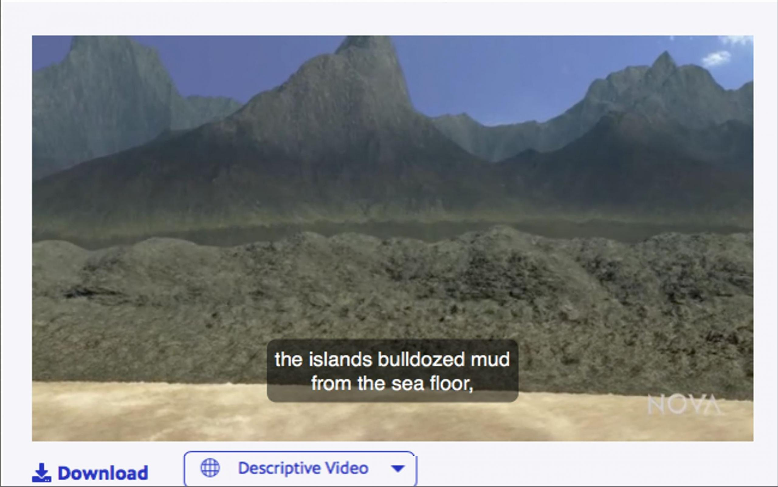 Screenshot from a Descriptive Video player depicting captions over a video.