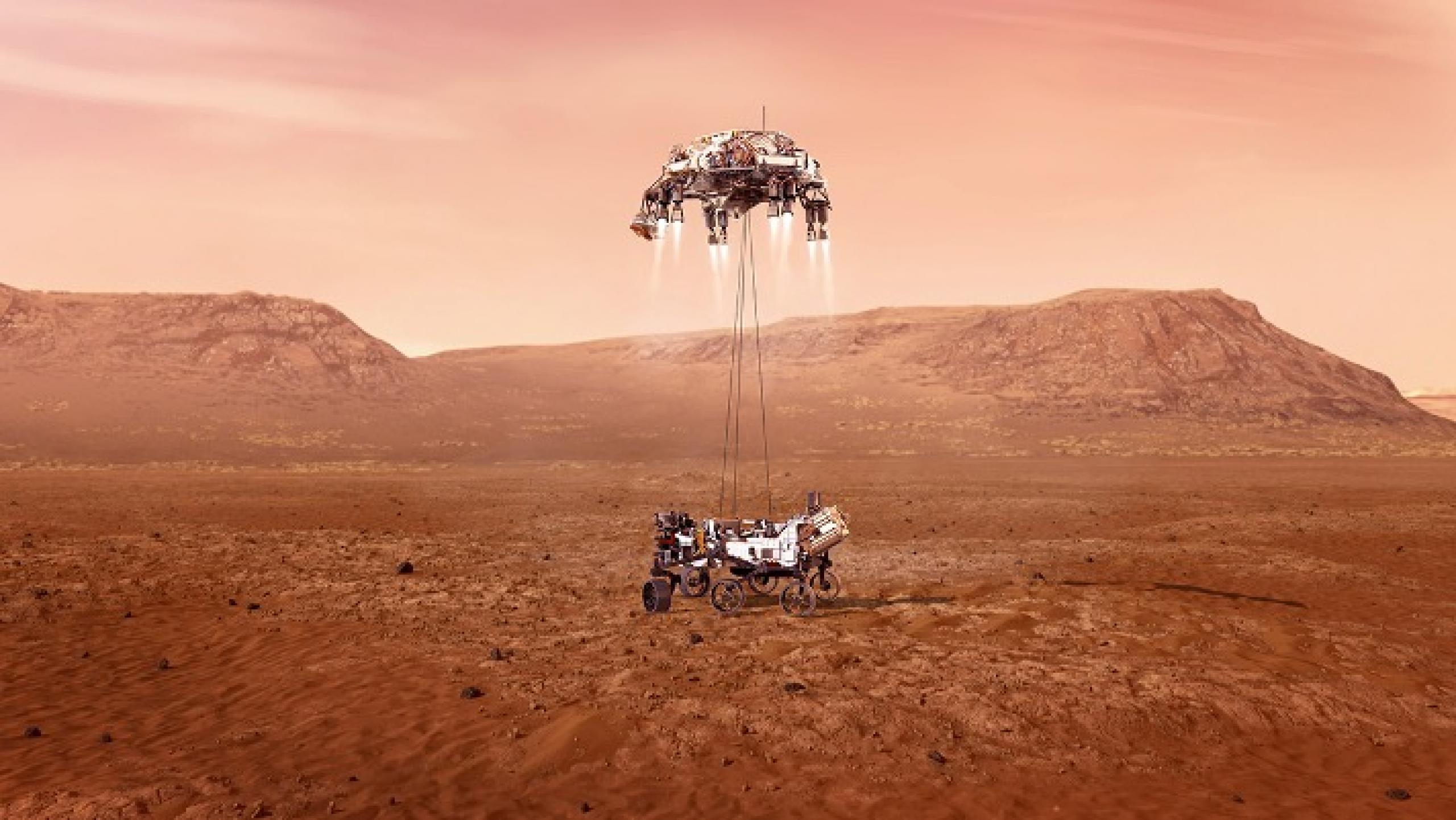 Artist concept of Mars Rover landing the on Mars surface