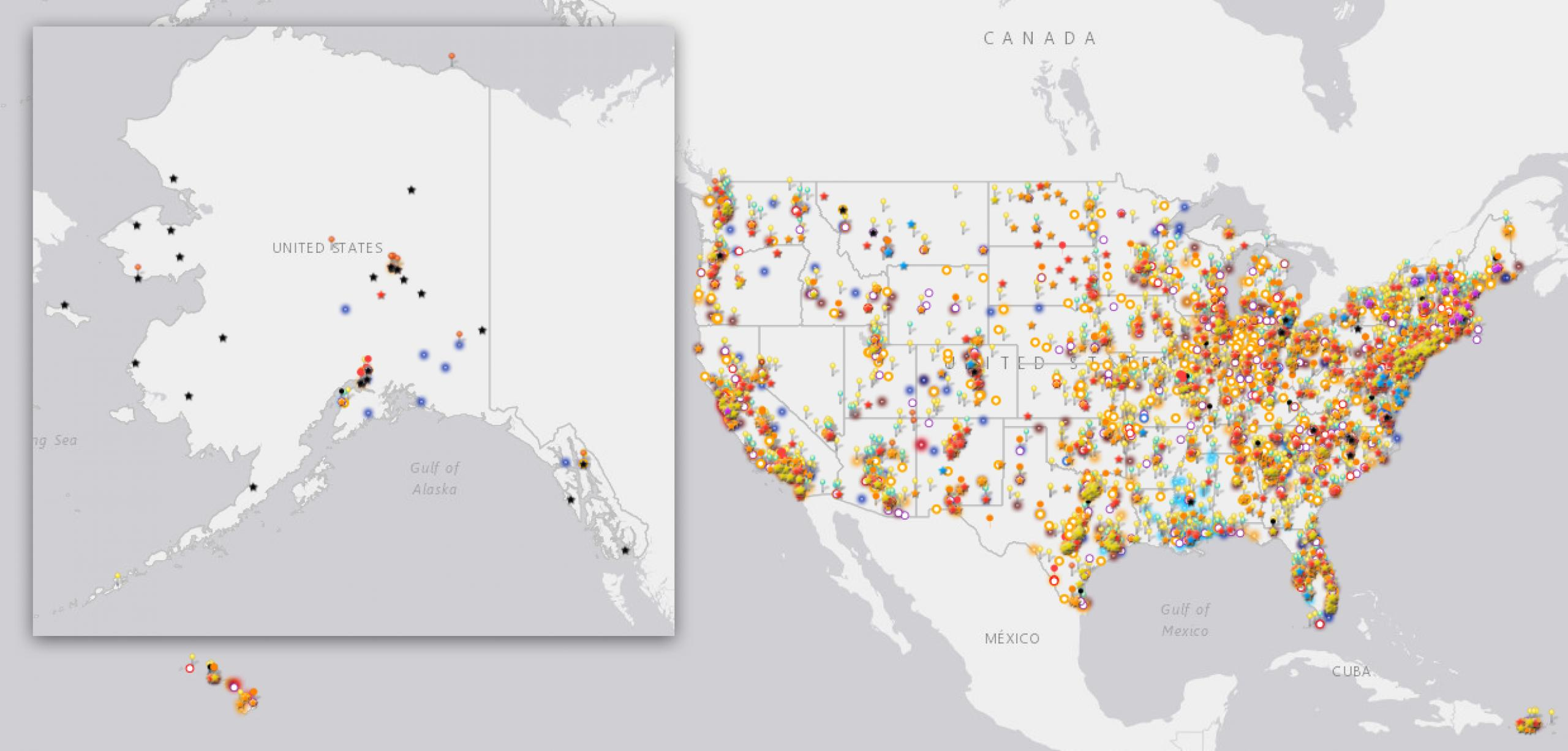Map of United States with color coded pins representing Science Activation program reach across the country.
