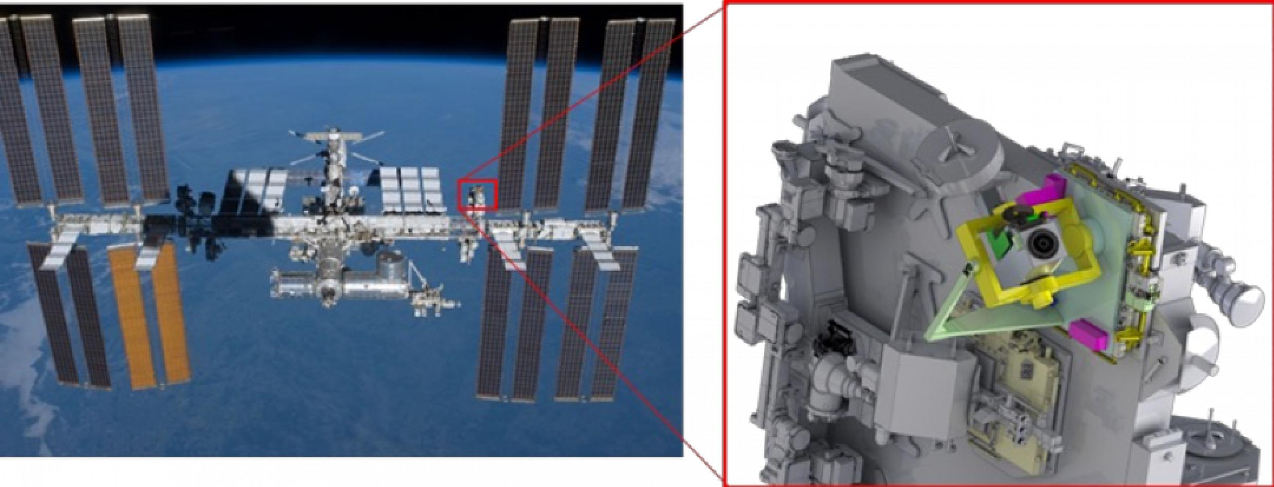 Photo of International Space Station and a model of CODEX coronograph