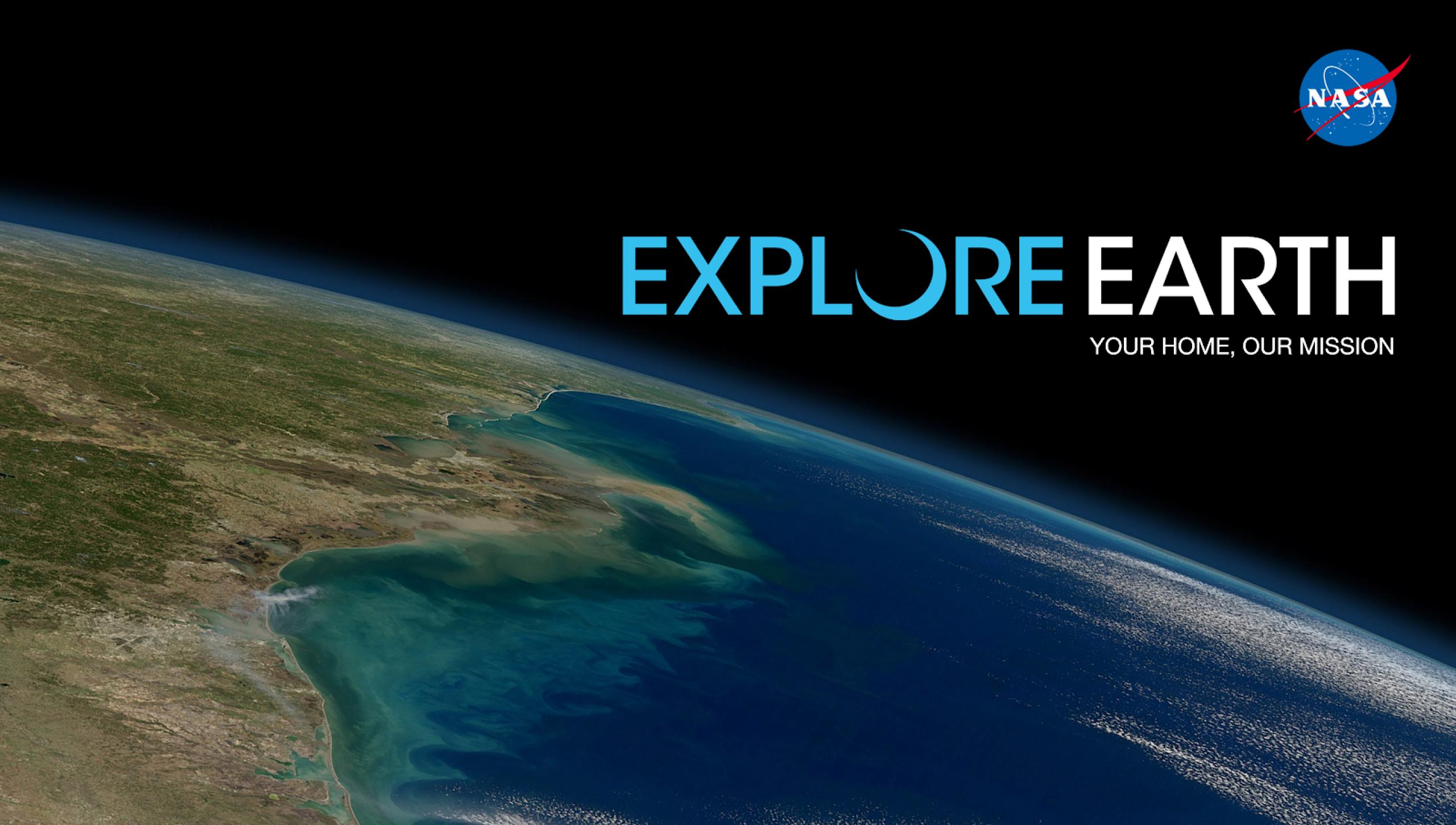 Explore Earth title overlaying an image of the earth
