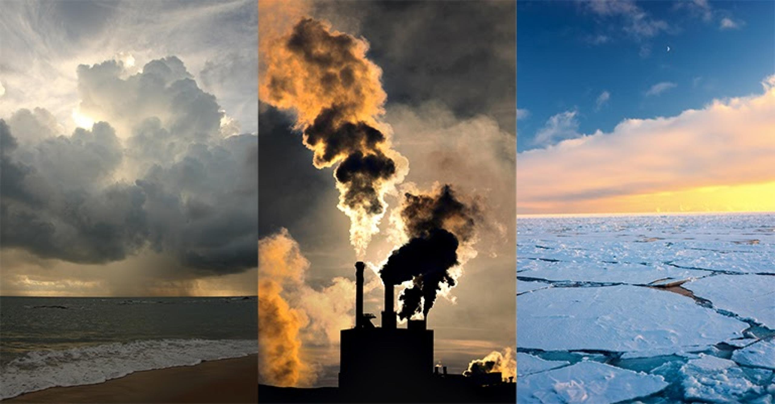 Collage of 3 images: storm clouds, smoke and exhaust from a building, ice plains