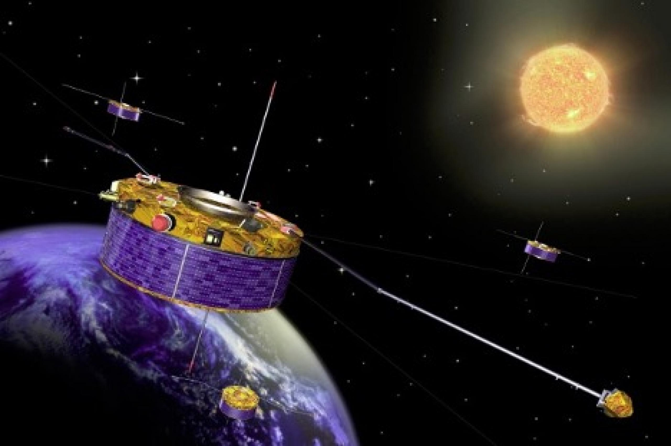 Artist concept of satellite in orbit with the sun in the background