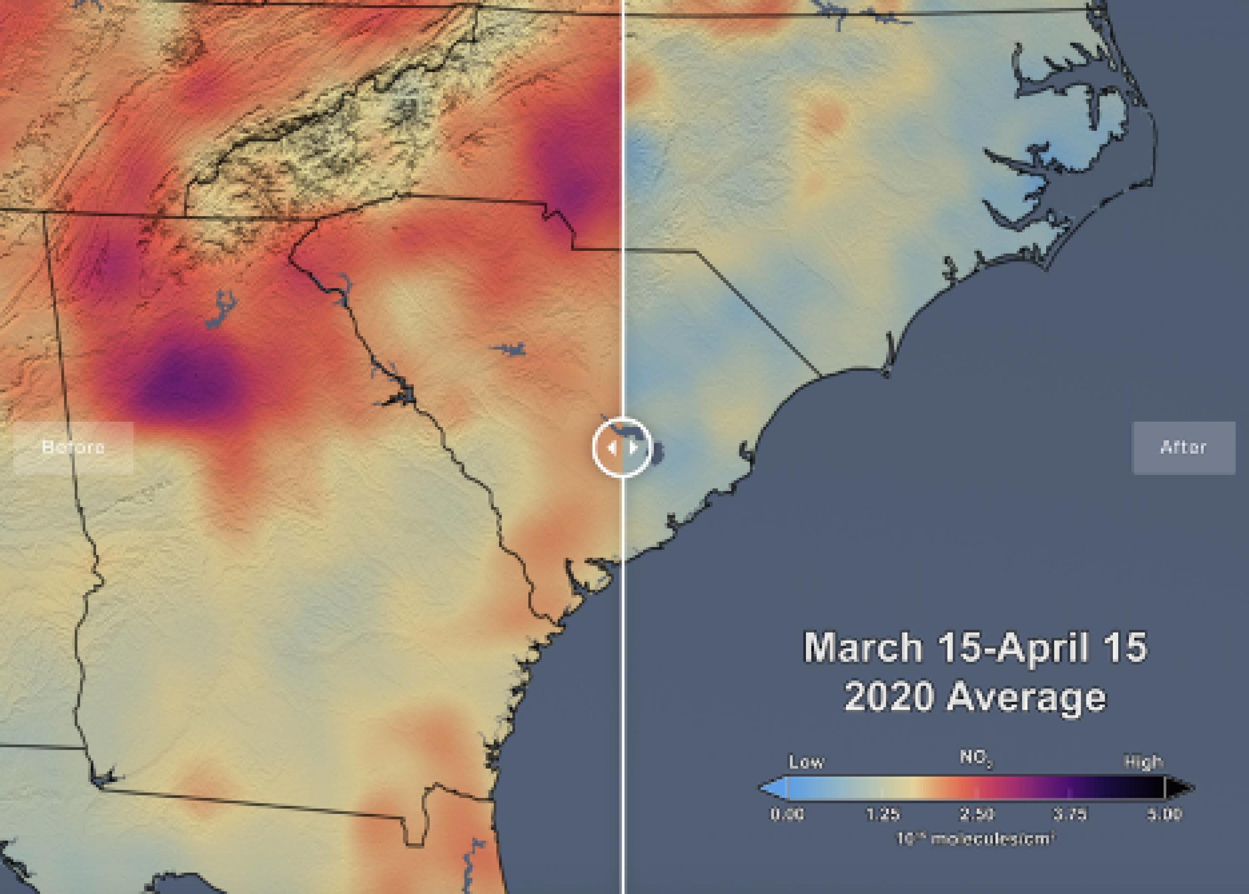 Satellite image of ozone map