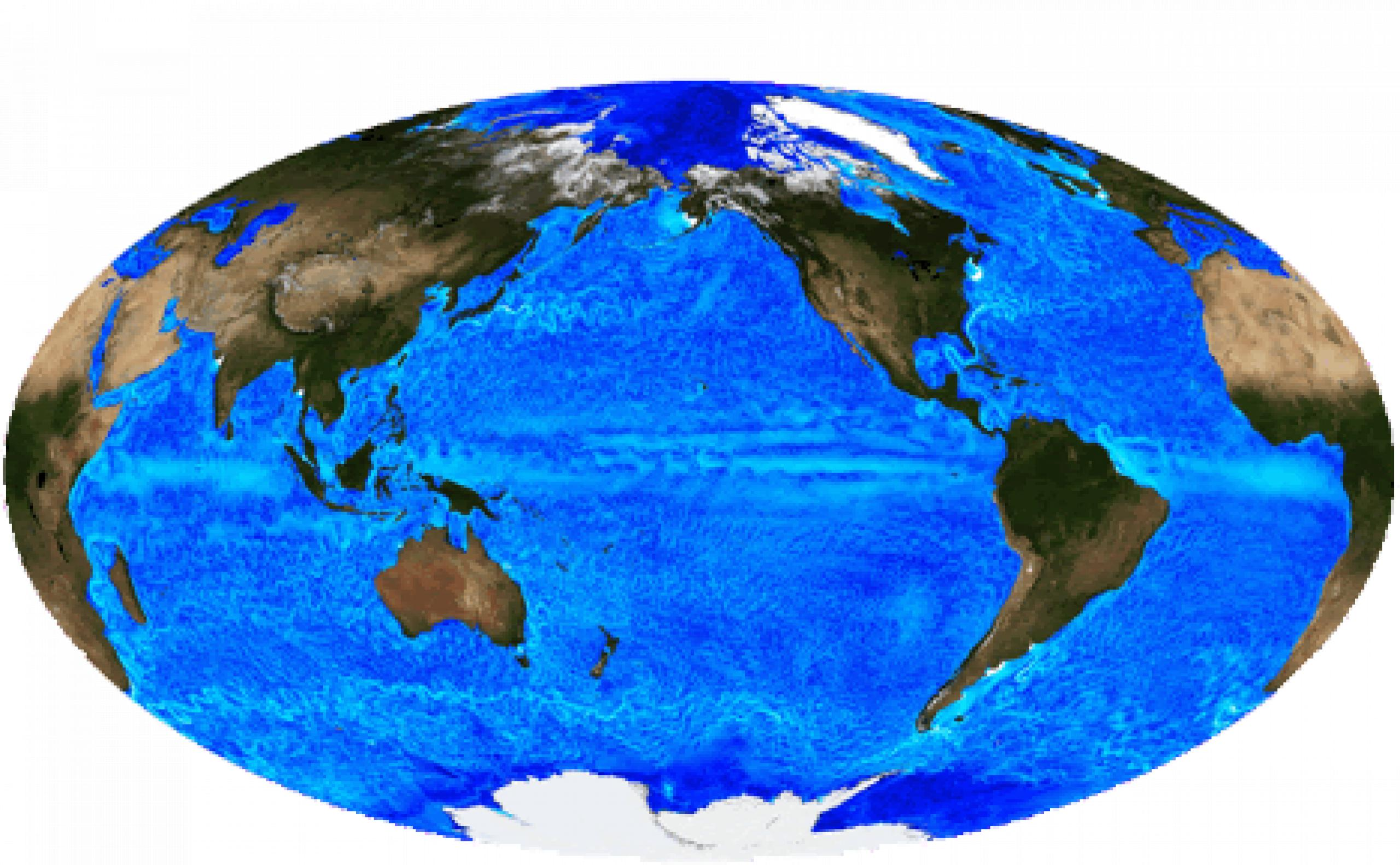 Satellite image of the globe showing ocean currents