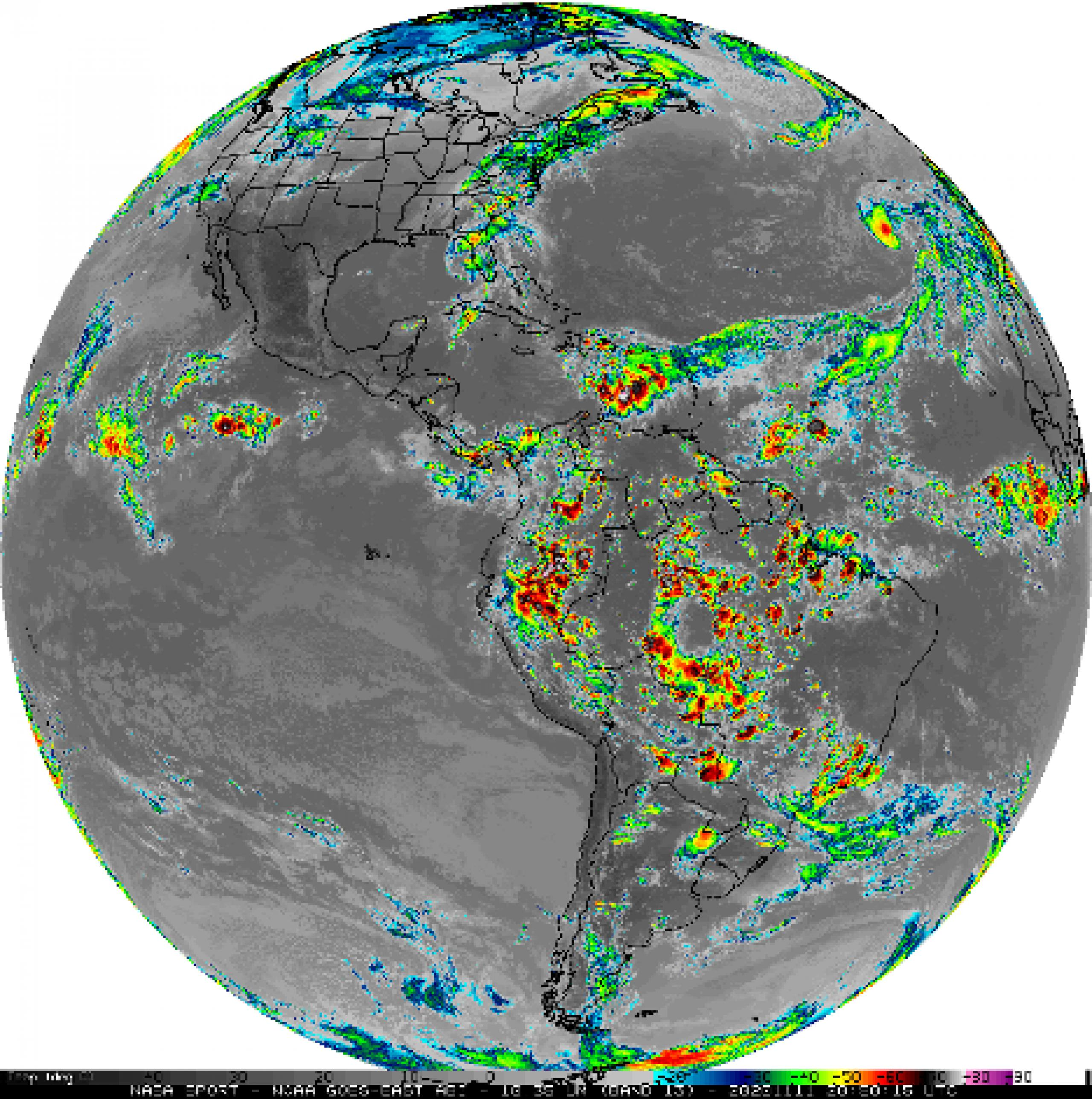 color coded weather data overlaying world map