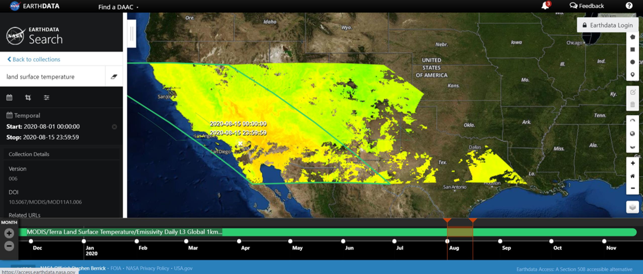 Screenshot of satellite data of the United States with the west coast colored shades or orange, yellow and green