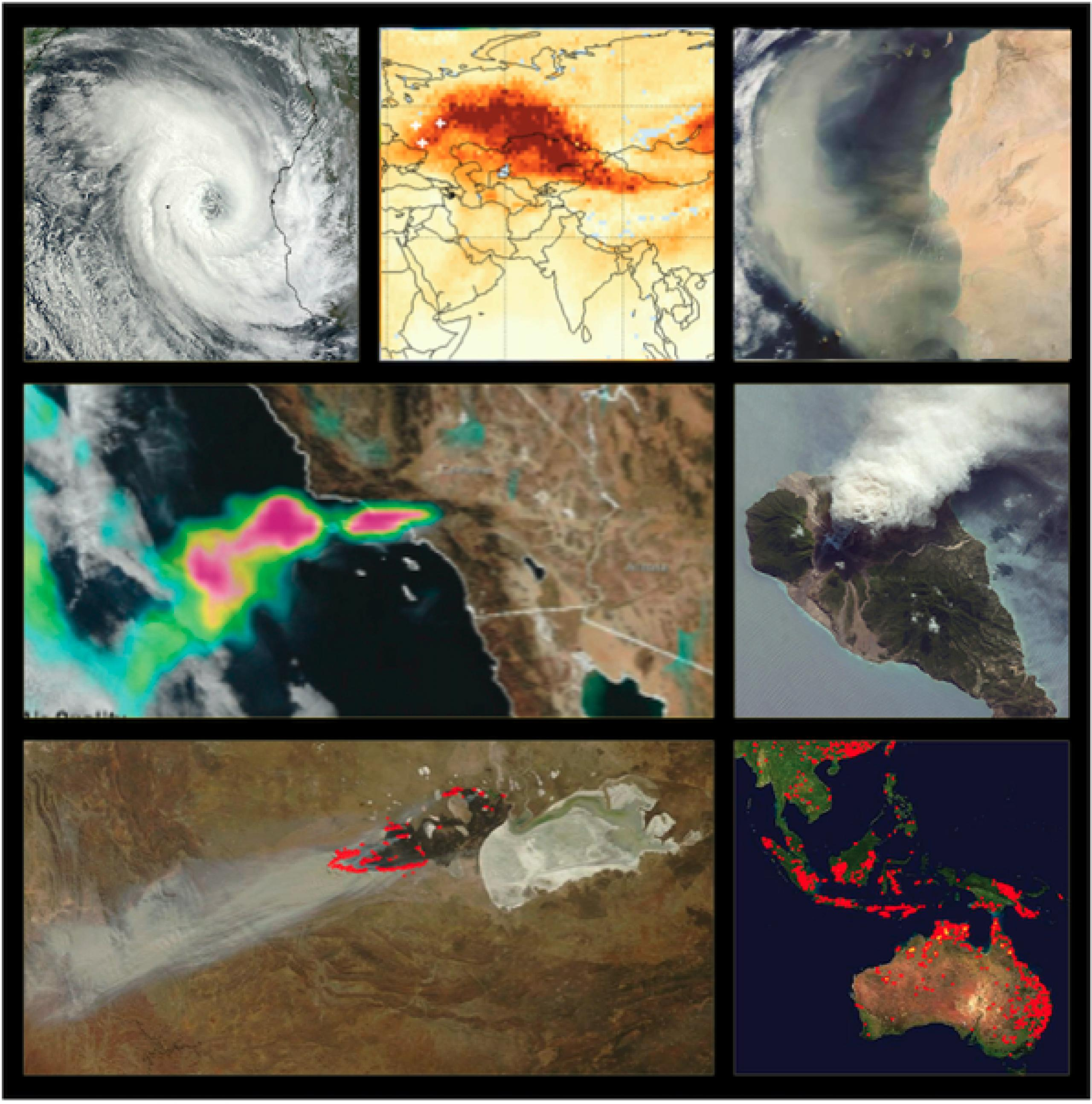 Collage of 7 earth data satellite images including a hurricane, smoke and fire imagery