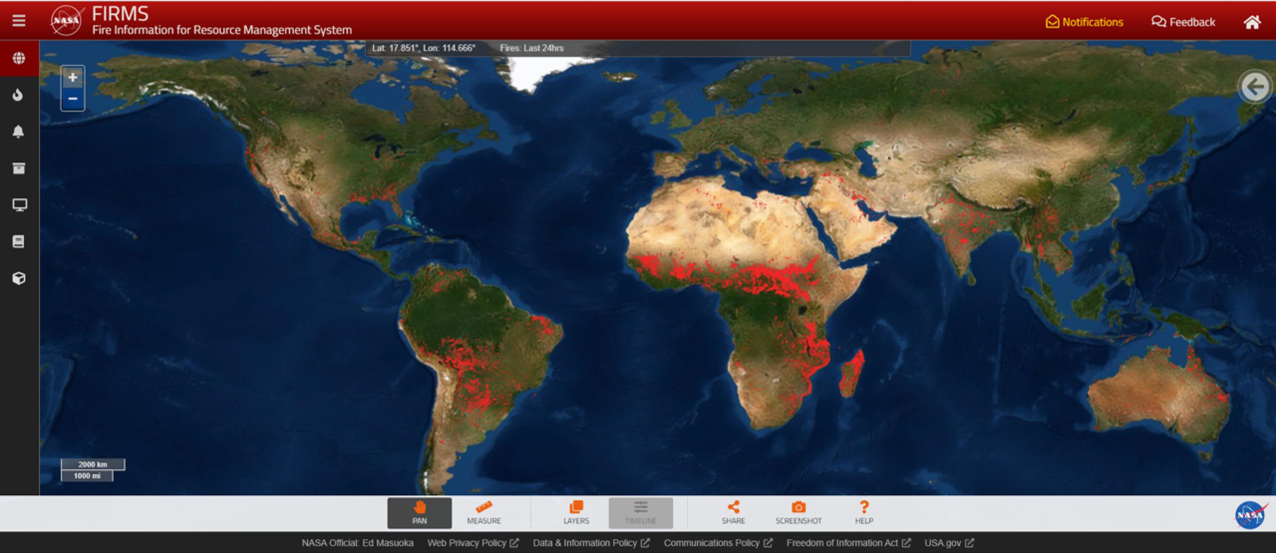 Screenshot of fire data across the world map