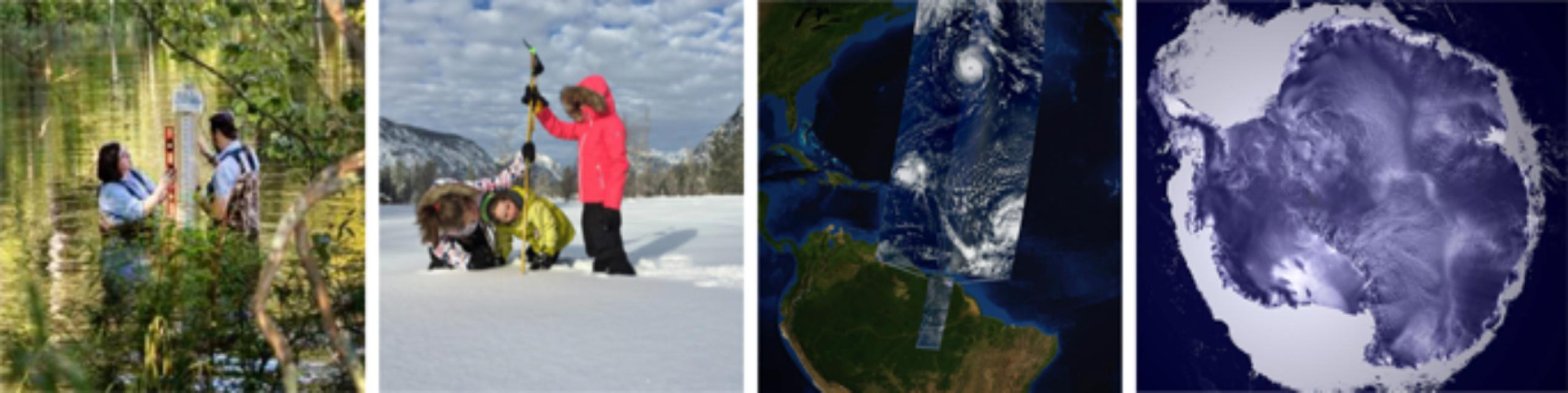 Collage of 4 photos: female and male measuring water, group of 3 people measuring snow, earth satellite data, satellite data of antarctica