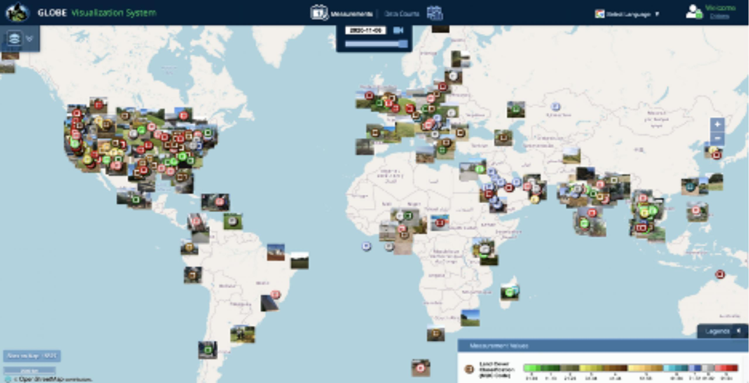 Screenshot of world map with thumbnail images overlaid