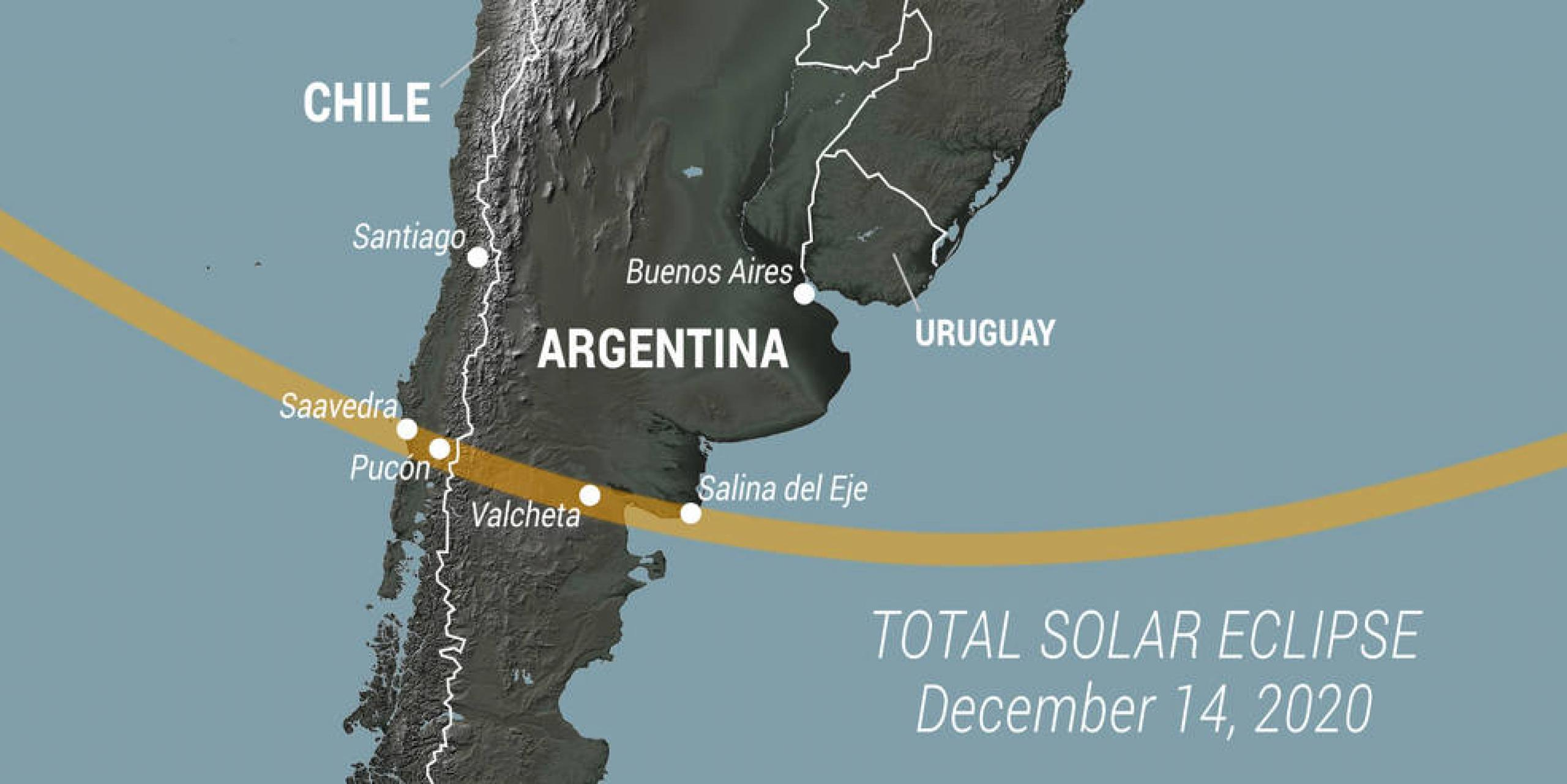 Schematic map of path of the 2020 eclipse in South America.