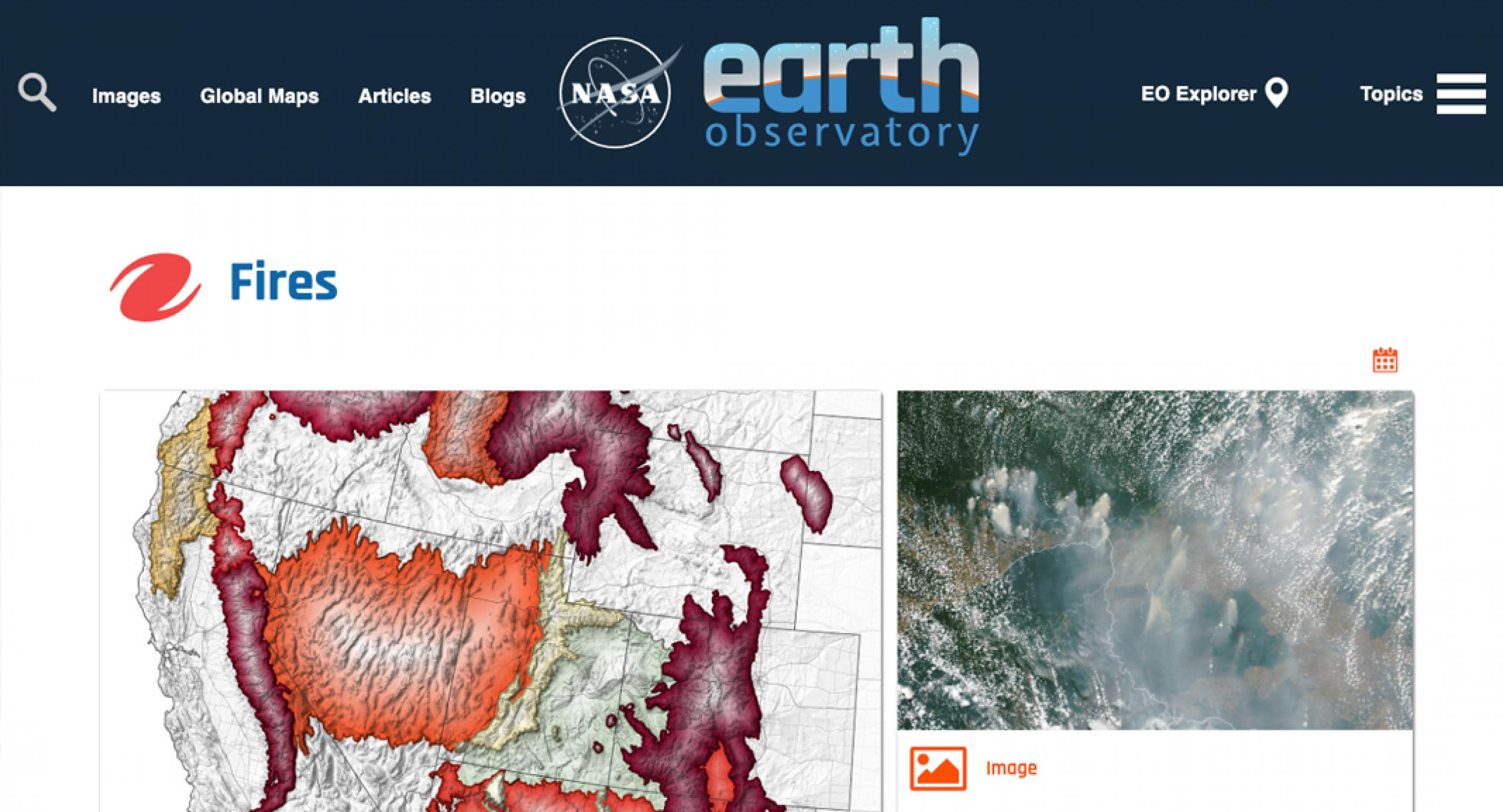 Screenshot of the Earth Observatory Fires webpage