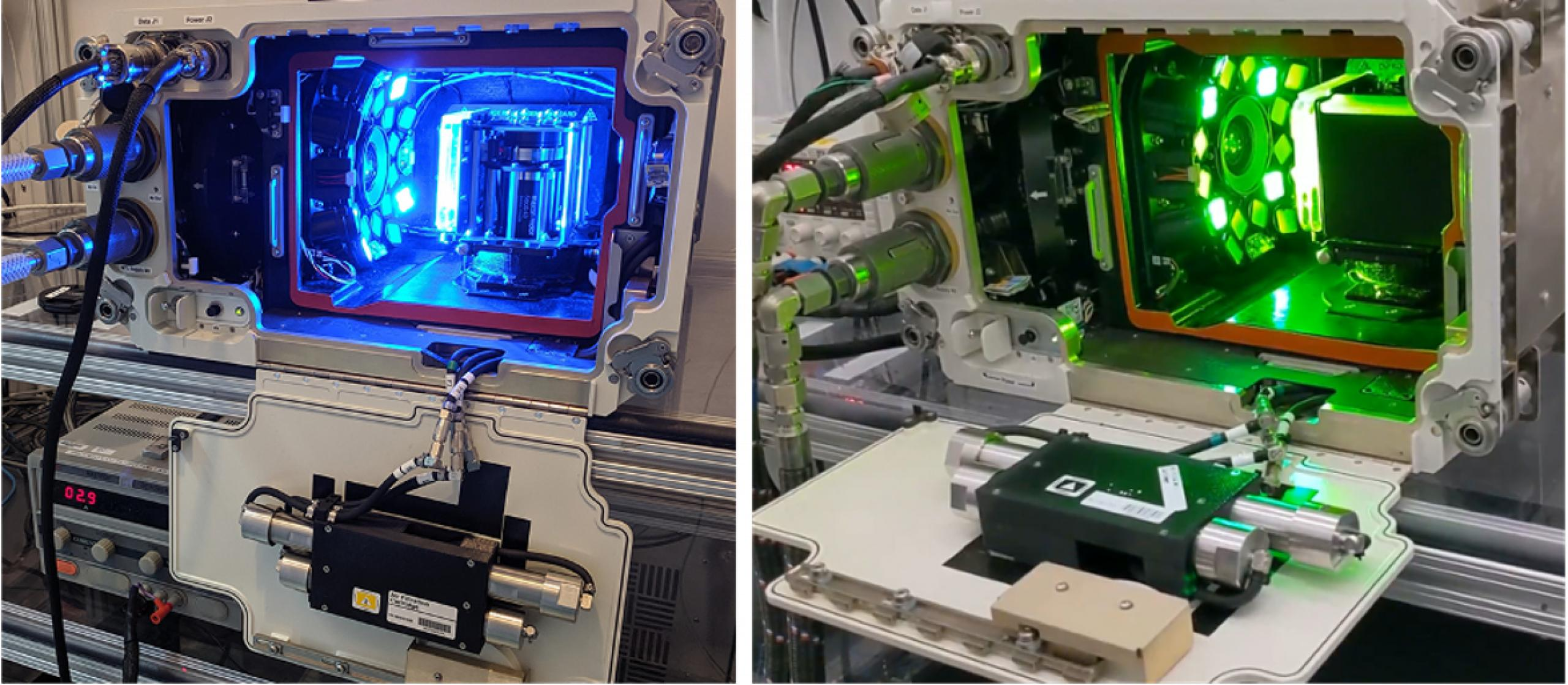 Photo on the left shows a blue light emitting out of the spectrum, photo on the right shows a green light emitting from the spectrum.