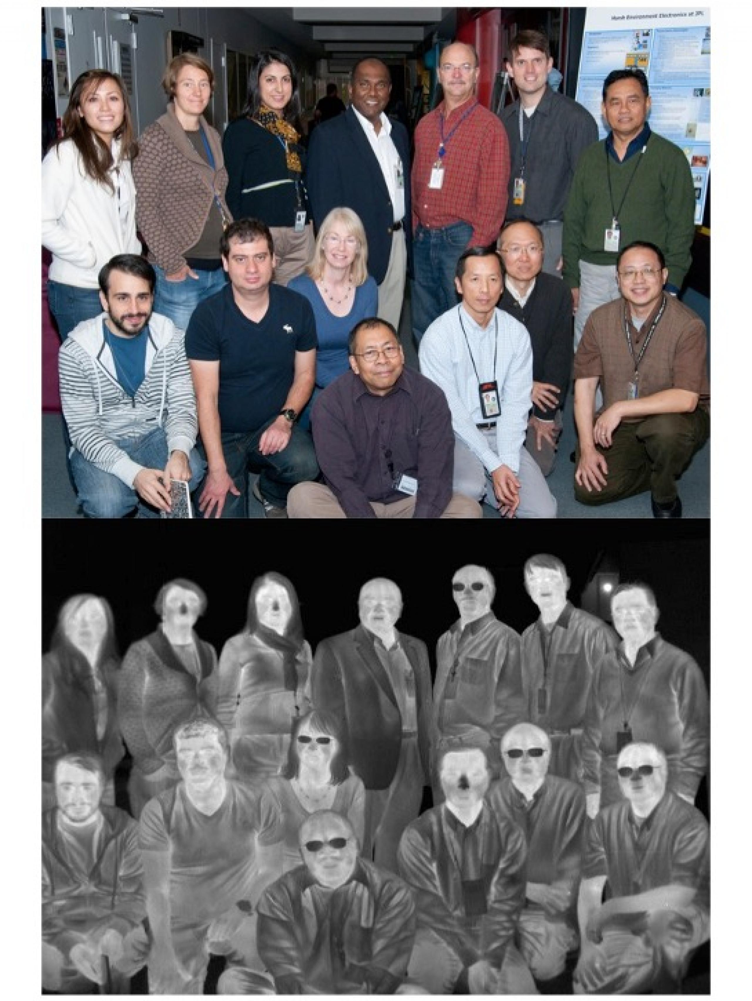 Color photo of Hot Bird team above a black and white infrared photo of the same team.