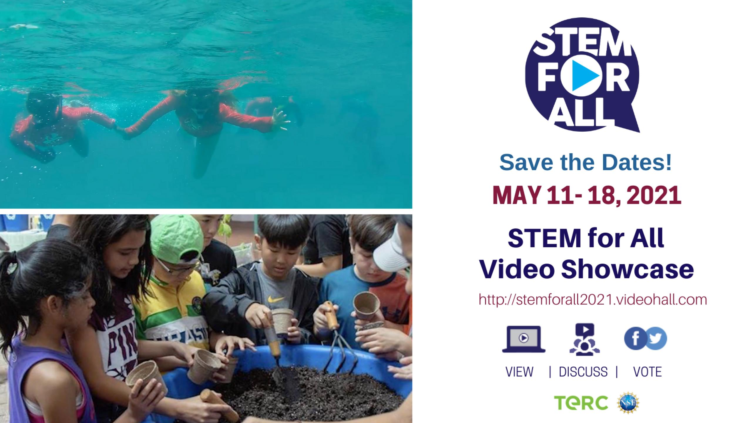 Collage of photos including kids swimming underwater and working with a large tub of soil.