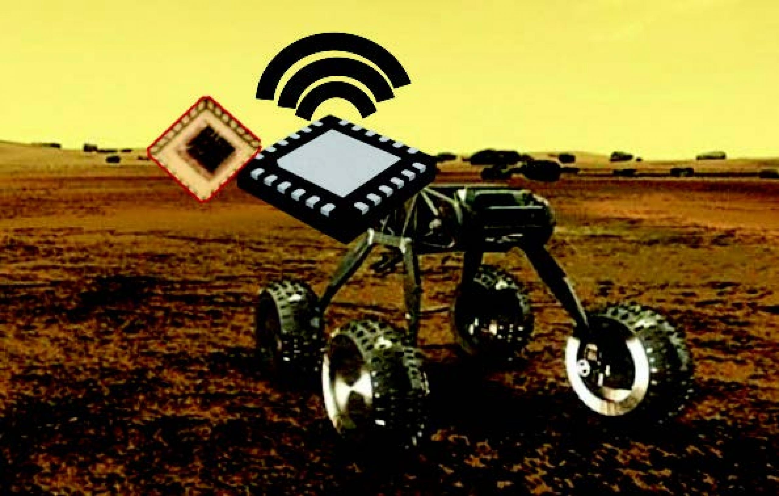 Artist concept of exploration vehicle on the surface of Venus
