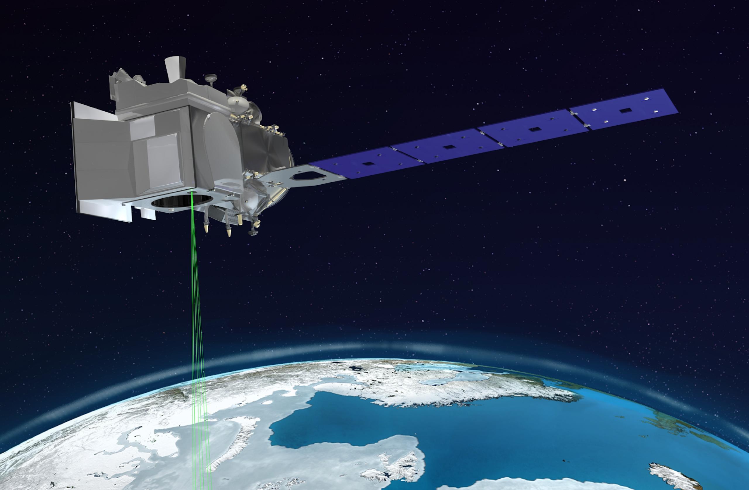 Artist concept of space instrument orbiting in the earth's atmosphere and scanning the earth's surface