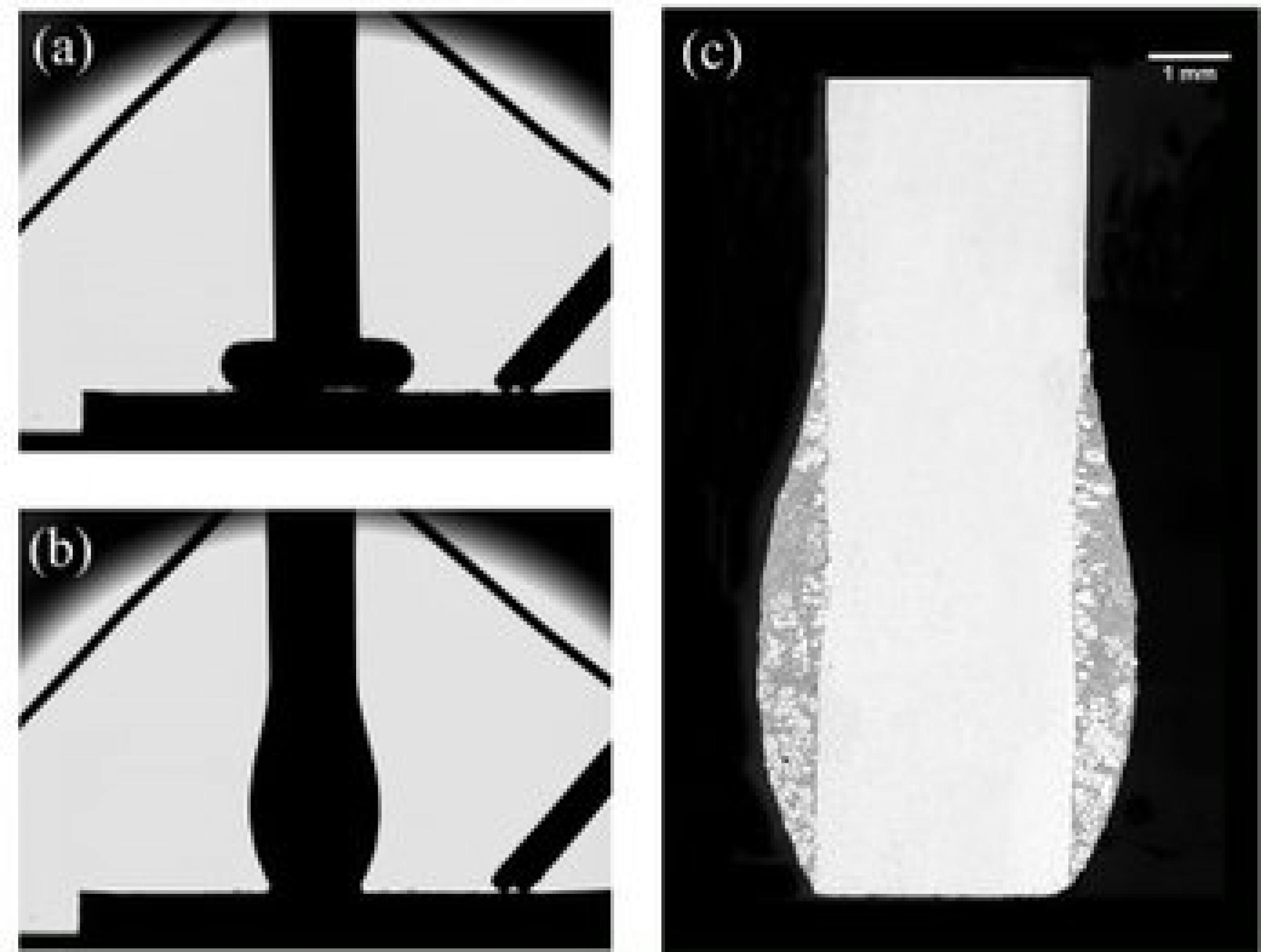 Black and white image of molten composite alloy