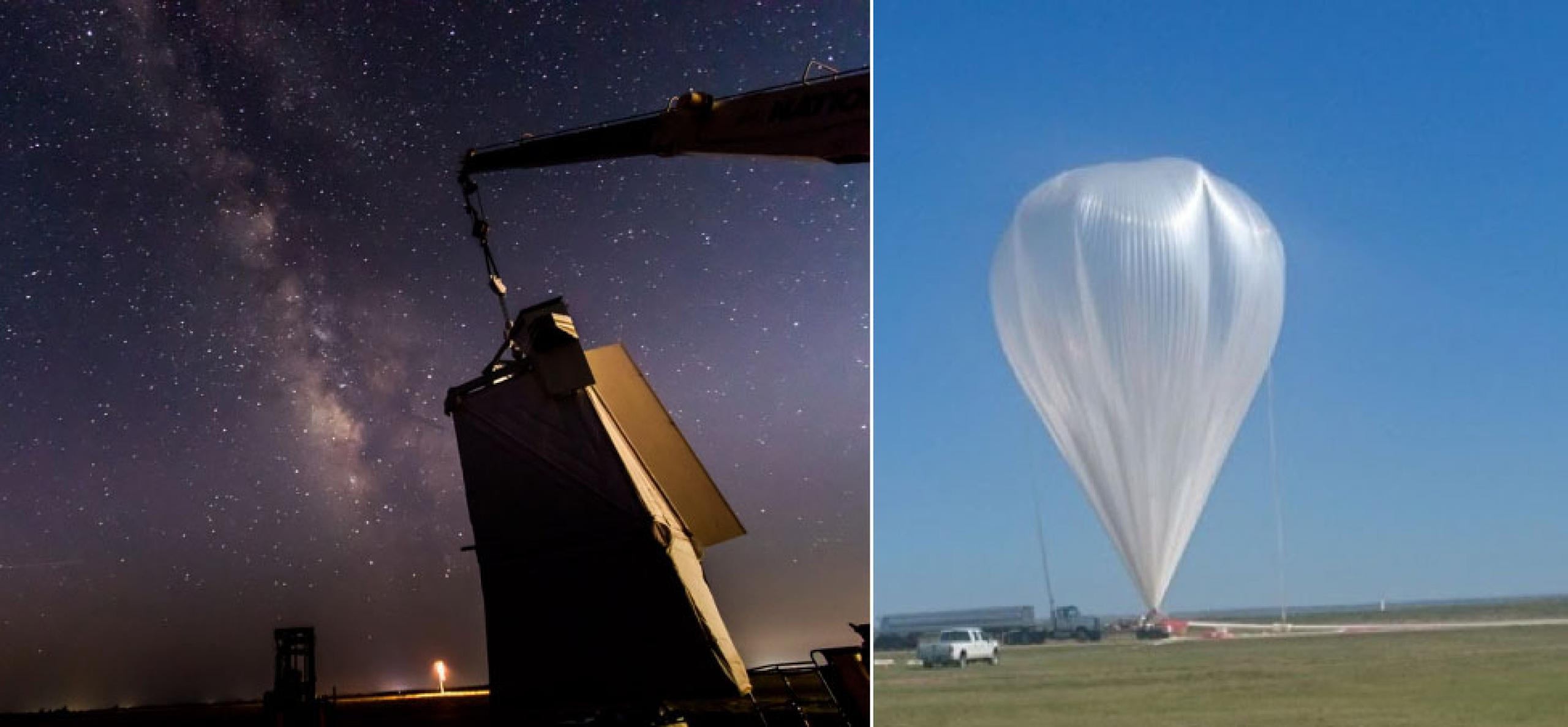 Photo of the milky way galaxy on the left and large white weather balloon on the right