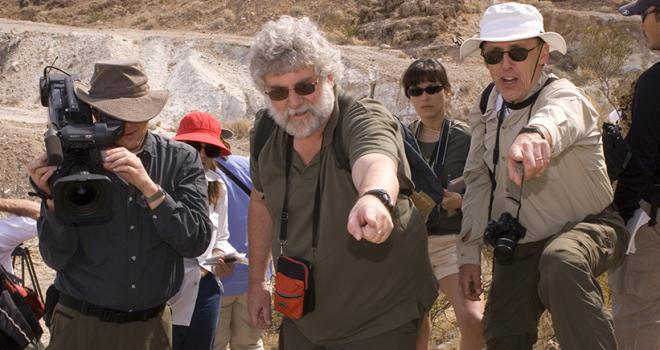 Brian (center) leads a group of teachers on a geology expedition in California's Mojave Desert.