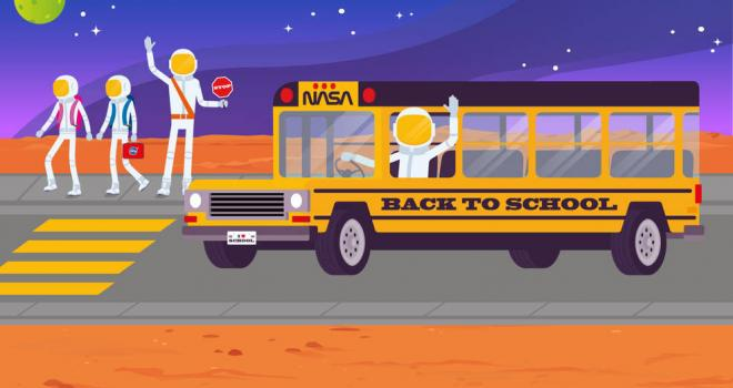 Illustration of a yellow NASA school bus with a crossing guard and kids crossing the street