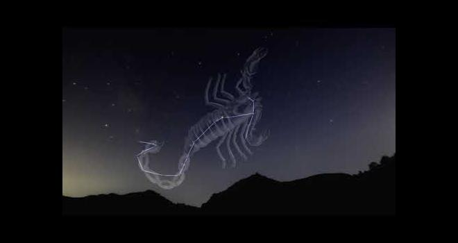 Photo of the night sky with a scorpion shaped constellation