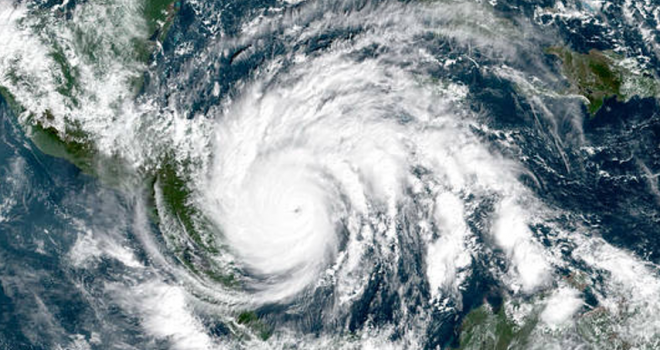Satellite image of hurricane over the Gulf of Mexico