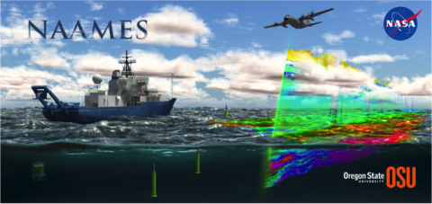 This cartoon shows the combined ship, aircraft, and float measurements that will be deployed during the 5-year NASA North Atlantic Aerosols and Marine Ecosystems Study (NAAMES) field project.  Our goal is to understand how ocean phytoplankton vary across different seasons, and it is thought that increased plankton concentrations in late Spring fill the ocean waters with organic molecules that are transported into the atmosphere through sea spray, wave breaking, and bubble bursting. These organics change the