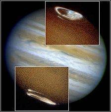 Aurora on Jupiter as seen in ultraviolet light.