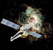 Artist's superposition of Chandra and an active X-ray source