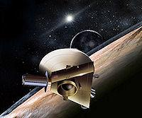 An artist's concept of New Horizons at Pluto.
