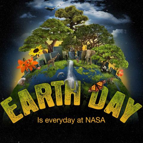 Illustration earth with wild animals, trees, flowers and sun turning to night sky