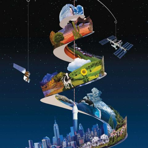 Illustration of hanging mobile with city scape, land scape and nature elements
